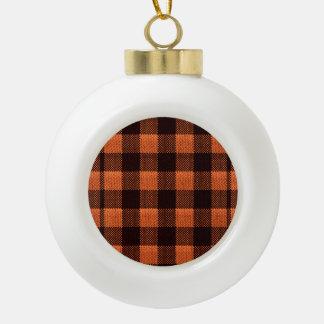 Coral Orange Gingham Checkered Pattern Burlap Look Ceramic Ball Christmas Ornament