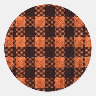 Coral Orange Gingham Checkered Pattern Burlap Look Classic Round Sticker
