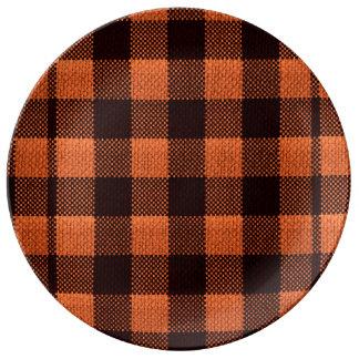 Coral Orange Gingham Checkered Pattern Burlap Look Dinner Plate