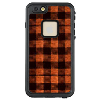 Coral Orange Gingham Checkered Pattern Burlap Look LifeProof® FRĒ® iPhone 6/6s Plus Case