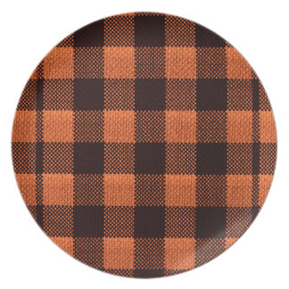Coral Orange Gingham Checkered Pattern Burlap Look Plate
