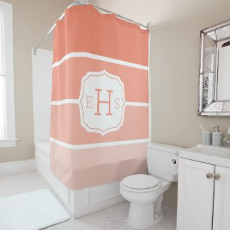 Coral Orange Gradient Paint Swatch Monogrammed Shower Curtain