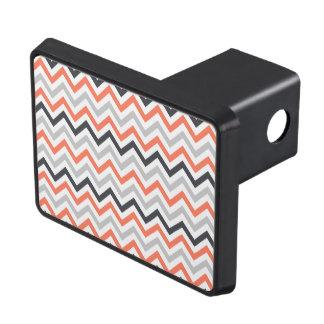 Coral Orange, Gray, Black, & White Chevron Tow Hitch Covers