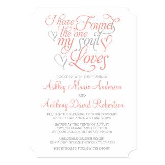 Coral Orange Grey Soul Loves Heart Wedding 5x7 Paper Invitation Card