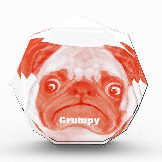 Coral Orange Grumpy Pug Award