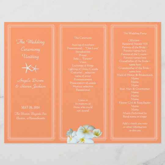 coral orange hawaiian flowers wedding program zazzle com