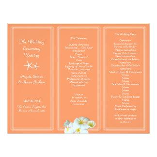 Coral Orange Hawaiian Flowers Wedding Program Letterhead