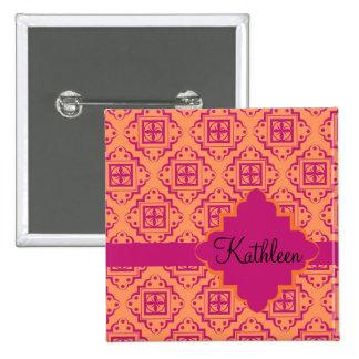 Coral Orange & Magenta Arabesque Moroccan Pinback Button
