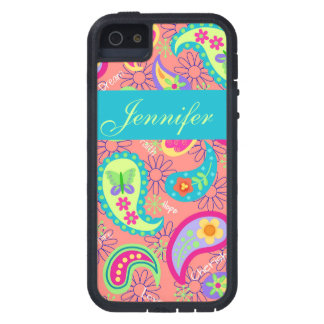 Coral Orange Modern Paisley Graphic Pattern iPhone SE/5/5s Case