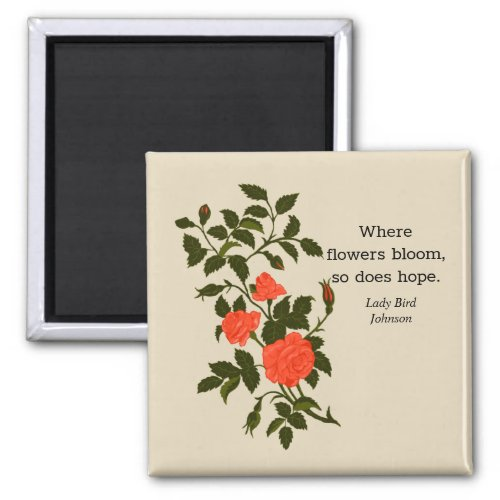 Coral Orange Ornamental Roses with optional quote Magnet