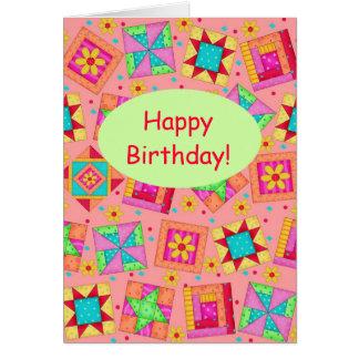 Coral Orange Patchwork Quilt Art Happy Birthday Card