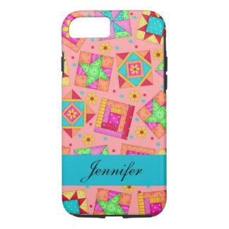 Coral Orange Patchwork Quilt Block Art Name iPhone 7 Case