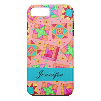 Coral Orange Patchwork Quilt Block Art Name iPhone 7 Plus Case