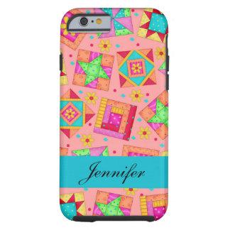Coral Orange Patchwork Quilt Block Art Name Tough iPhone 6 Case