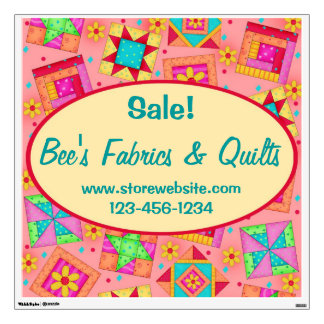 Coral Orange Patchwork Quilt Block Wall Sign Wall Sticker