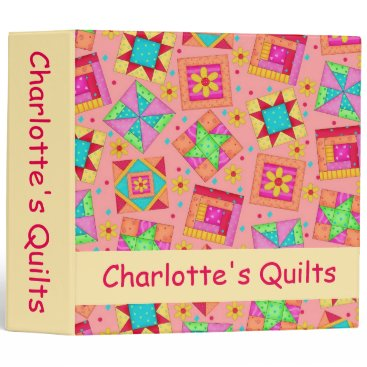Professional Business Coral Orange Patchwork Quilt Name Personalized Binder