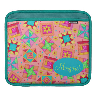 Coral Orange Personalize Patchwork Quilt Block Art Sleeve For iPads