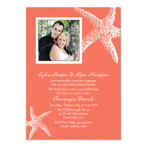 Coral Orange Photo Wedding Reception Only Invites 5