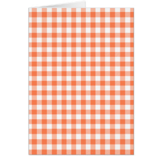 Coral (Orange Pink) and White Gingham Card