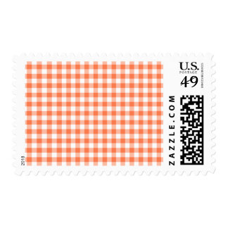 Coral (Orange Pink) and White Gingham Checks Postage