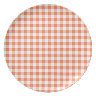 Coral (Orange Pink) and White Gingham Dinner Plate