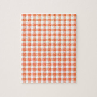 Coral (Orange Pink) and White Gingham Jigsaw Puzzle