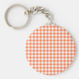 Coral (Orange Pink) and White Gingham Keychain