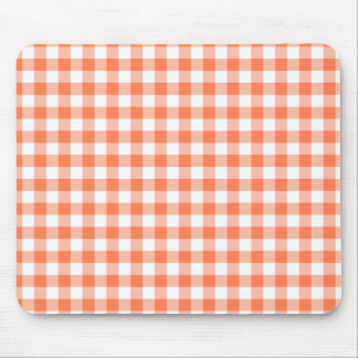 Coral (Orange Pink) and White Gingham Mouse Pad