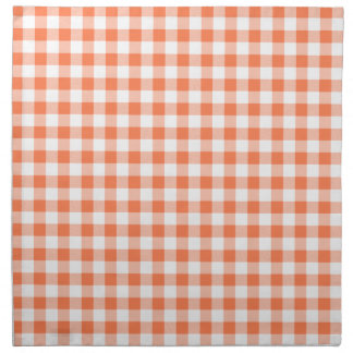Coral (Orange Pink) and White Gingham Napkin