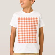 Coral (Orange Pink) and White Gingham T-Shirt