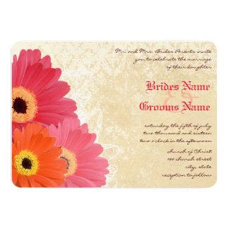 Coral Orange Pink Gerber Daisy Wedding Invitation