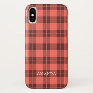 Coral Orange Plaid Pattern Custom Name iPhone XS Case