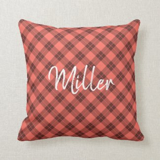 Coral Orange Plaid Pattern White Script Name Throw Pillow