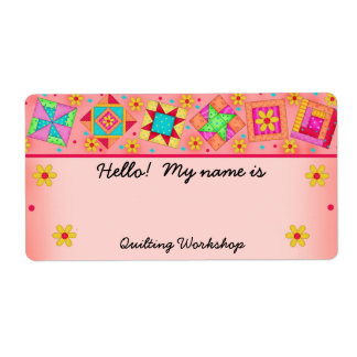 Coral Orange Quilt Blocks Quilters Name Tag