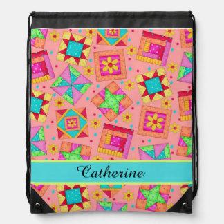 Coral Orange Quilt Patchwork Block Art Name Drawstring Backpack