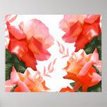 "Coral Orange Rose Flower 20"" x 16"" Poster"