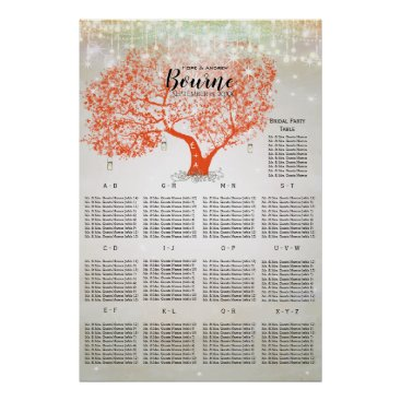 Art Themed Coral Orange Rustic Country Tree Seating Chart