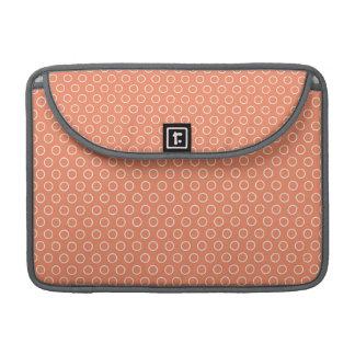 Coral Orange, Salmon, Circles MacBook Pro Sleeve