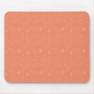 Coral Orange, Salmon, Country Paisley Mouse Pad