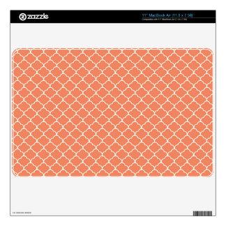 Coral Orange, Salmon, Moroccan Quatrefoil Decal For The MacBook Air