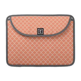 Coral Orange, Salmon, Moroccan Quatrefoil Sleeve For MacBook Pro