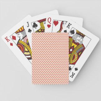 Coral Orange, Salmon, White, Chevron Stripes Poker Cards