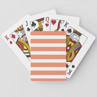 Coral Orange, Salmon, Wide Stripes Poker Cards
