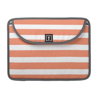 Coral Orange, Salmon, Wide Stripes Sleeve For MacBooks