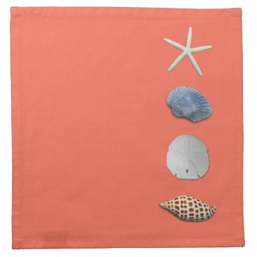 Beach Themed Coral Orange Seashells Coastal Theme Napkins