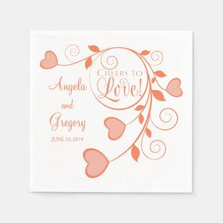 Coral Orange White Cheers to Love Heart Wedding Paper Napkin