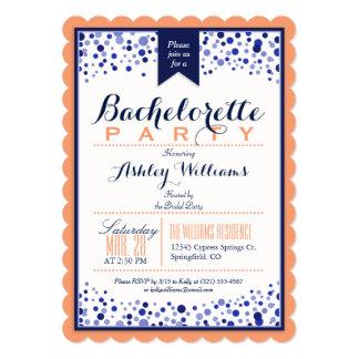Coral Orange, White, Navy Blue Bachelorette Party Card