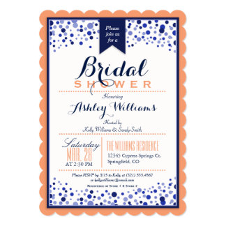 Coral Orange, White, & Navy Blue Bridal Shower Card