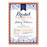 Coral Orange, White, & Navy Blue Bridal Shower 5x7 Paper Invitation Card