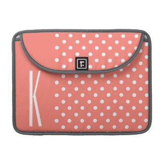 Coral Orange & White Polka Dots Sleeve For MacBook Pro